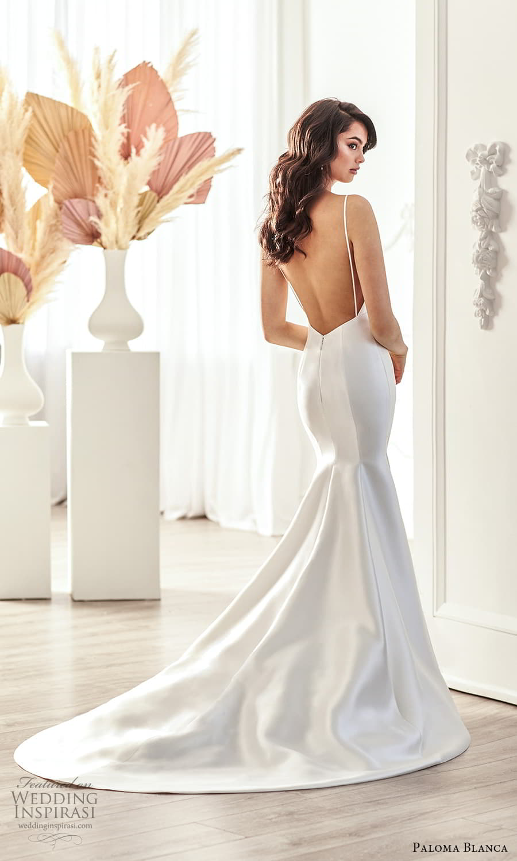 paloma blanca fall 2021 bridal sleeveless thin straps v neckline clean minimalist fit flare mermaid wedding dress chapel train open back chapel train (10) mv