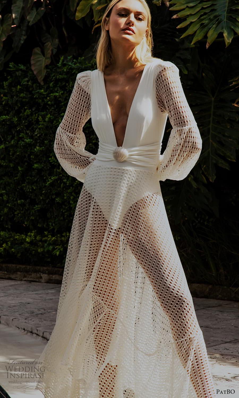 patbo spring 2022 bridal long bishop sleeves plunging v neckline clean bodice a line wedding dress (7) fv