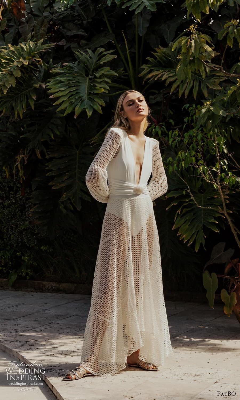patbo spring 2022 bridal long bishop sleeves plunging v neckline clean bodice a line wedding dress (7) mv