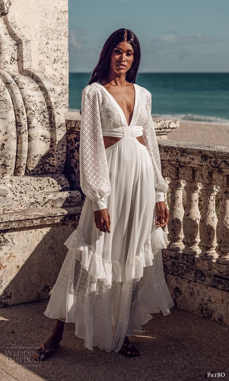 patbo spring 2022 bridal long bishop sleeves v neckline a line wedding dress (1) mv
