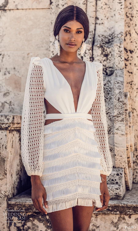 patbo spring 2022 bridal long sleeve plunging v nekline short wedding dress (6) mv