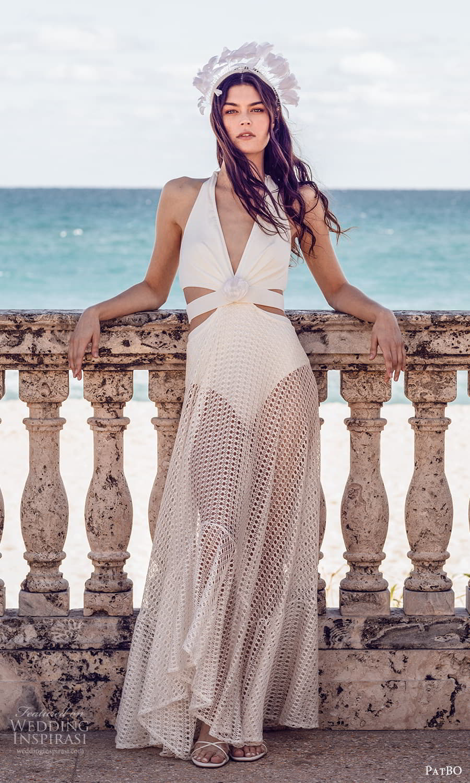 patbo spring 2022 bridal sleeveless halter neckline sheer a line wedding dress (3) mv