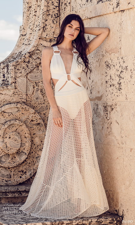 patbo spring 2022 bridal sleeveless halter neckline side cutout sheer a line wedding dress (5) fv