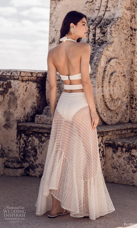 patbo spring 2022 bridal sleeveless halter straps plunging v neckline side cutout sheer skirt a line wedding dress (11) bv