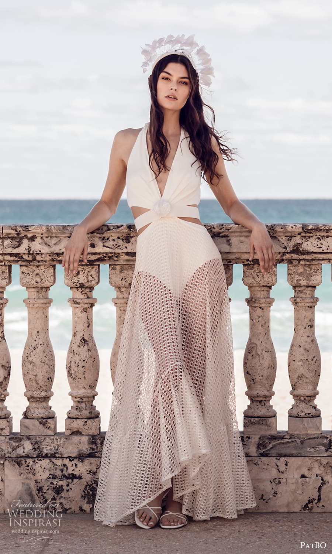 patbo spring 2022 bridal sleeveless halter straps plunging v neckline side cutout sheer skirt a line wedding dress (11) mv