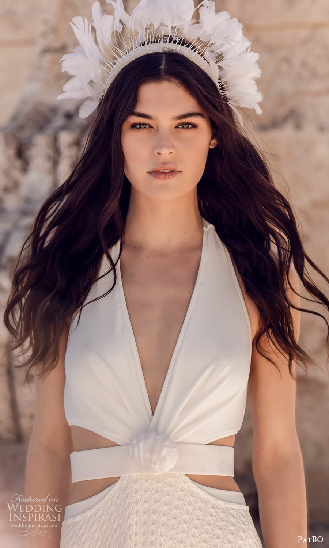 patbo spring 2022 bridal sleeveless halter straps plunging v neckline side cutout sheer skirt a line wedding dress (11) zv