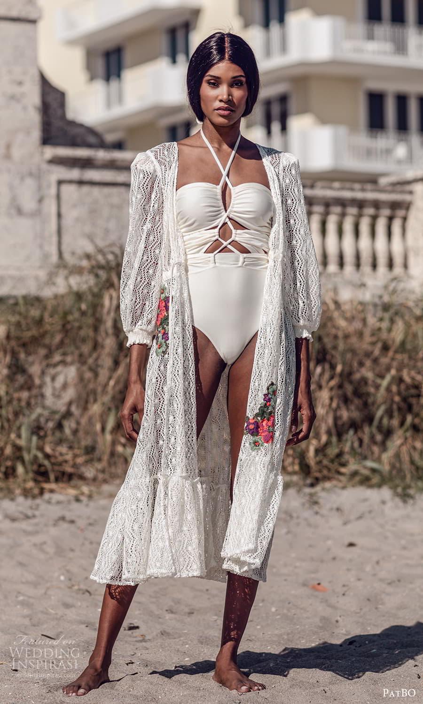 patbo spring 2022 bridal sleeveless one piece swimsuit 3 quarter sleeve lace robe (2) mv