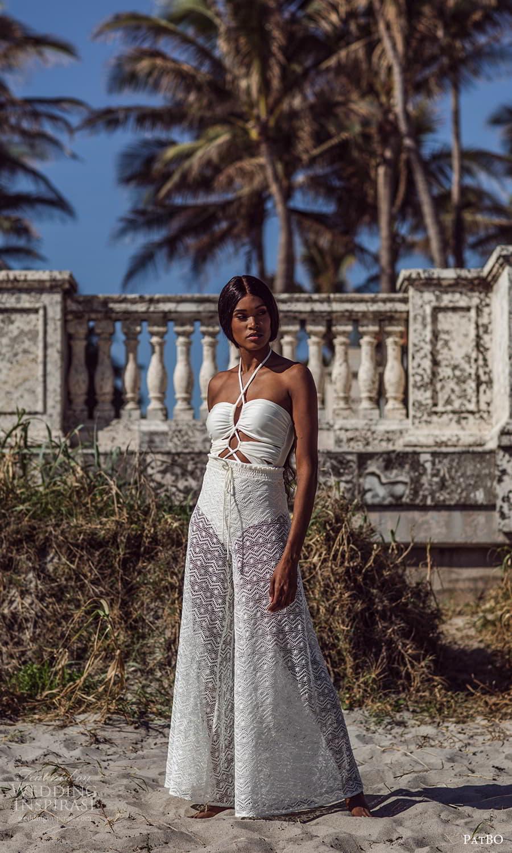 patbo spring 2022 bridal sleeveless one piece swimsuit sheer a line skirt (2) mv