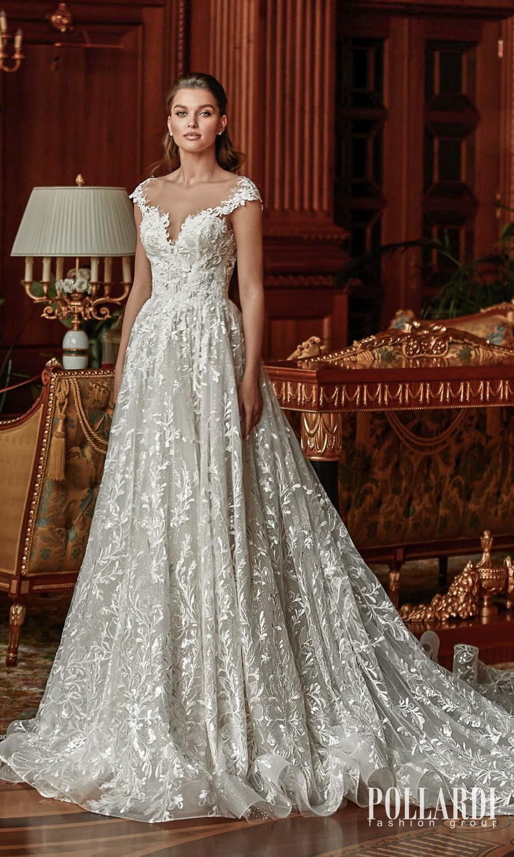 pollardi 2022 your triumph bridal cap sleeves off shoulder sweetheart neckline fully embellished lace a line ball gown wedding dress chapel train (classic) mv