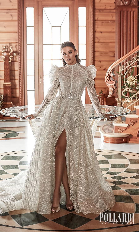 pollardi 2022 your triumph bridal long puff sleeves high neckline fully embellished a line ball gown wedding dress slit skirt chapel train (enthusiasm) mv