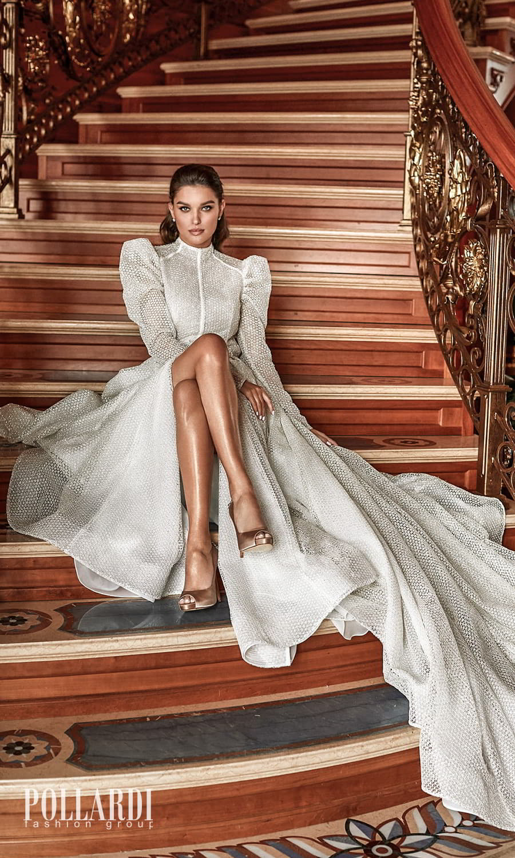 pollardi 2022 your triumph bridal long puff sleeves high neckline fully embellished a line ball gown wedding dress slit skirt chapel train (enthusiasm) zv