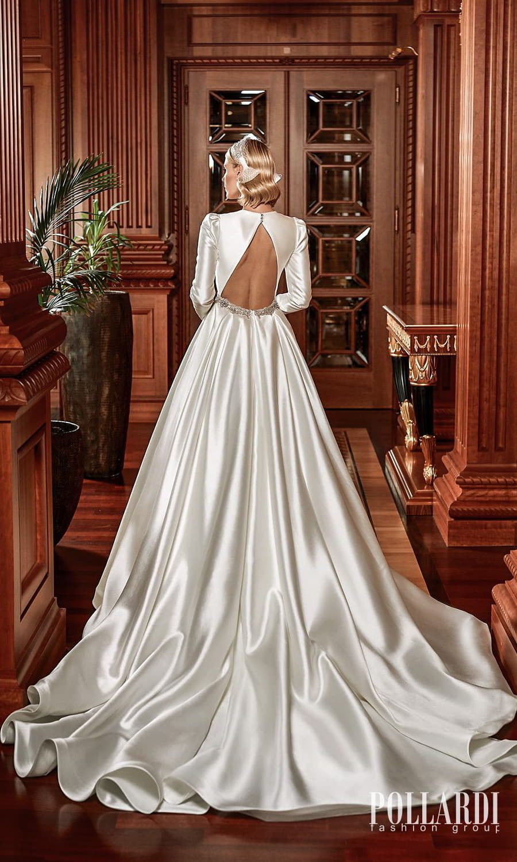 pollardi 2022 your triumph bridal long puff sleeves jewel neckline cutout bodice clean minimalist a line ball gown wedding dress chapel train cutout back (shininess) bv