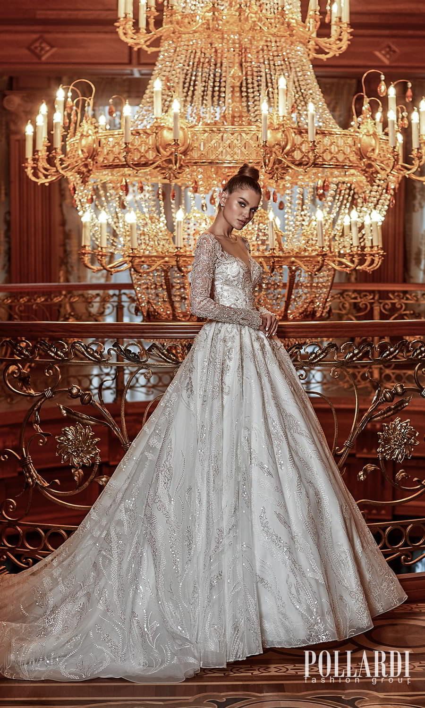 pollardi 2022 your triumph bridal long sleeve sweetheart neckline fully embellished a line ball gown wedding dress chapel train (luxury) mv