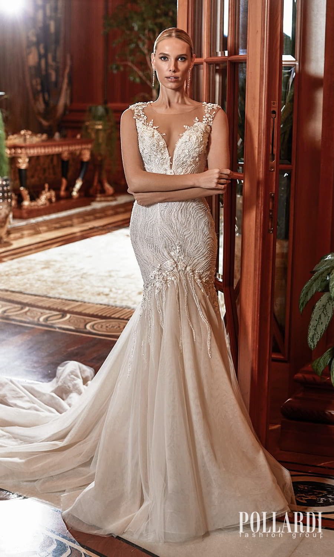 pollardi 2022 your triumph bridal mini cap sleeves sweetheart neckline fully embellished fit flare mermaid wedding dress chapel train (delirium) mv