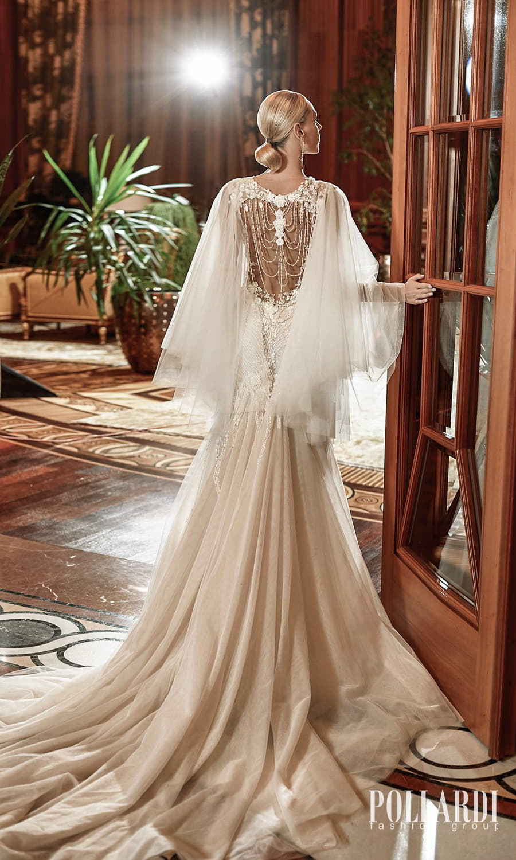 pollardi 2022 your triumph bridal mini cap sleeves sweetheart neckline fully embellished fit flare mermaid wedding dress chapel train sheer low back cape (delirium) bv