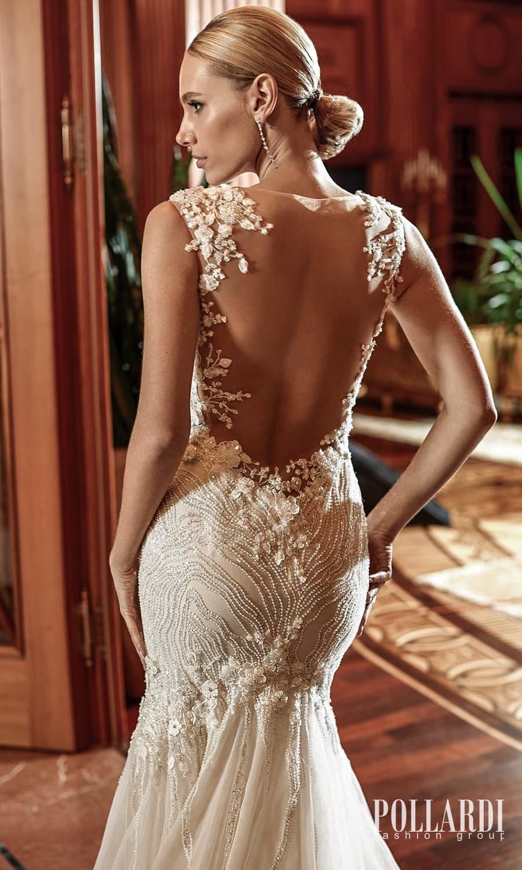 pollardi 2022 your triumph bridal mini cap sleeves sweetheart neckline fully embellished fit flare mermaid wedding dress chapel train sheer low back (delirium) zbv