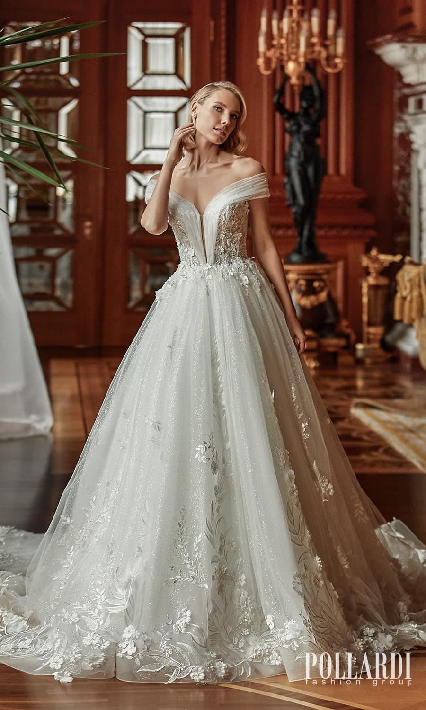 pollardi 2022 your triumph bridal off shoulder strap plunging v neckline embellished bodice a line ball gown wedding dress chapel train (glee) mv
