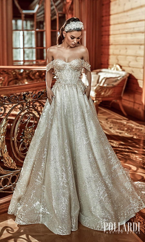pollardi 2022 your triumph bridal off shoulder swag straps sweetheart neckline fully embellished a line ball gown wedding dress chapel train (mastery) mv