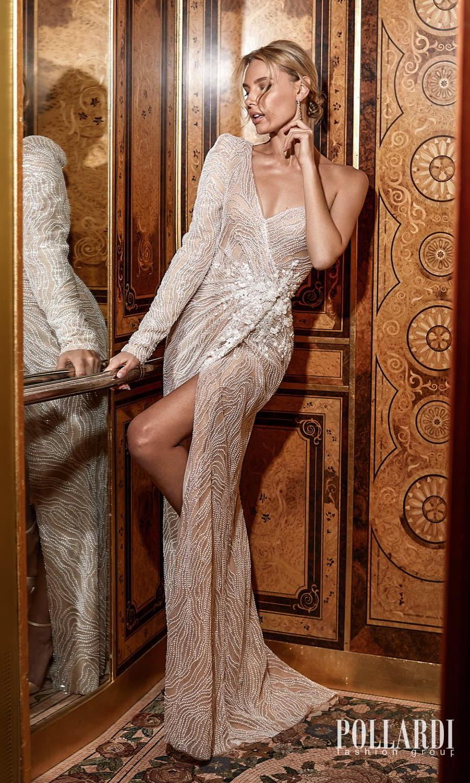 pollardi 2022 your triumph bridal one shoulder long sleeve sweetheart neckline fully embellished sheath wedding dress chapel train (ecstacy) mv