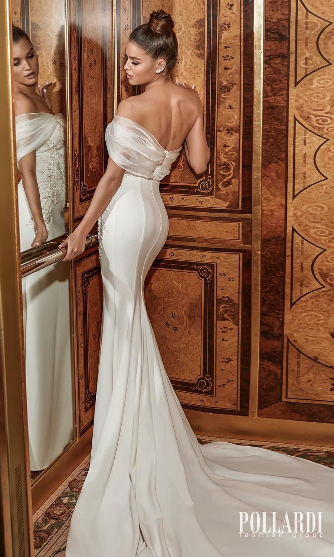 pollardi 2022 your triumph bridal one shoulder straight across neckline embellished bodice minimalist sheath wedding dress chapel train (excellence) bv