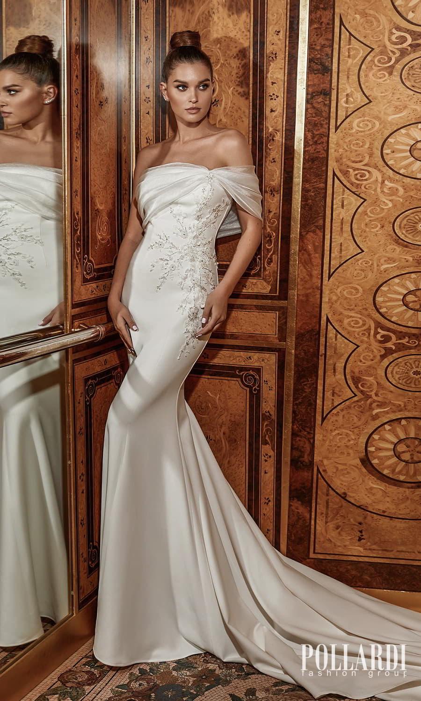 pollardi 2022 your triumph bridal one shoulder straight across neckline embellished bodice minimalist sheath wedding dress chapel train (excellence) mv