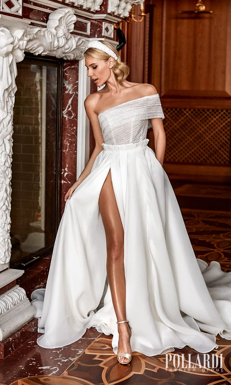 pollardi 2022 your triumph bridal one shoulder strap asymmetric neckline embellished bodice clean skirt a line ball gown wedding dress slit skirt chapel train (mystery) mv