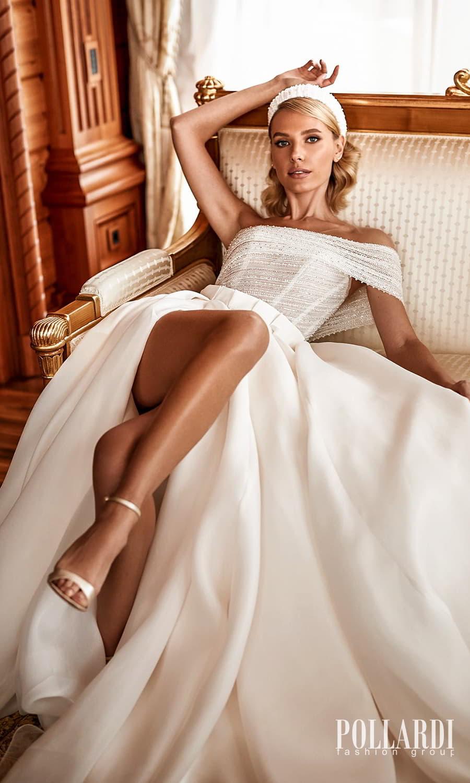 pollardi 2022 your triumph bridal one shoulder strap asymmetric neckline embellished bodice clean skirt a line ball gown wedding dress slit skirt chapel train (mystery) zv
