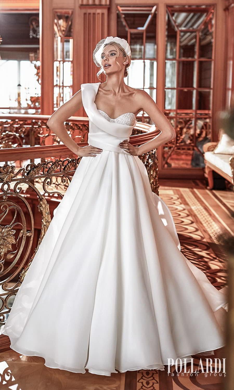 pollardi 2022 your triumph bridal one shoulder strap asymmetric sweetheart neckline clean minimalist a line ball gown wedding dress chapel train (distinction) mv