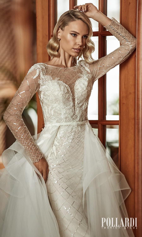 pollardi 2022 your triumph bridal sheer long sleeves jewel neckline fully embellished sheath wedding dress ball gown overskirt chapel train (glow sparkle) zv