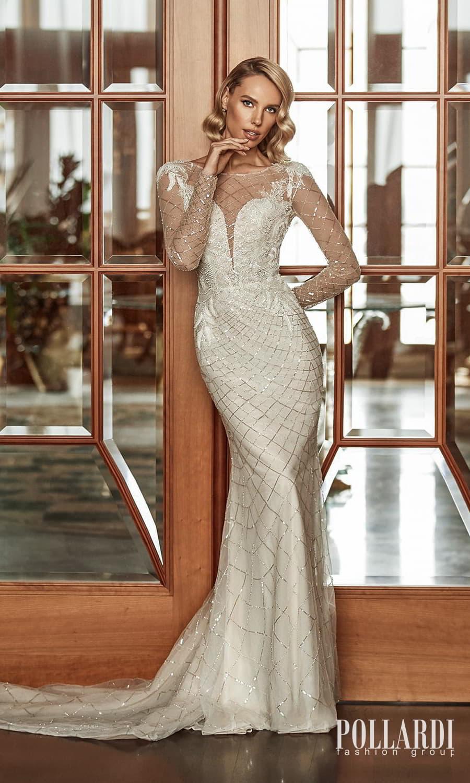 pollardi 2022 your triumph bridal sheer long sleeves jewel neckline fully embellished sheath wedding dress chapel train (glow sparkle) mv