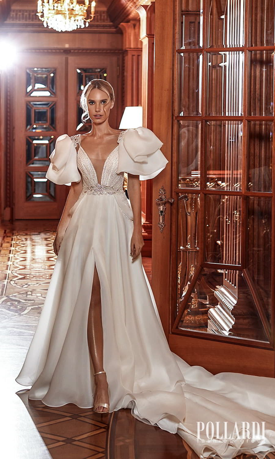 pollardi 2022 your triumph bridal sleeveless straps plunging neckline embellished bodice a line ball gown wedding dress chapel train (one and only) mv