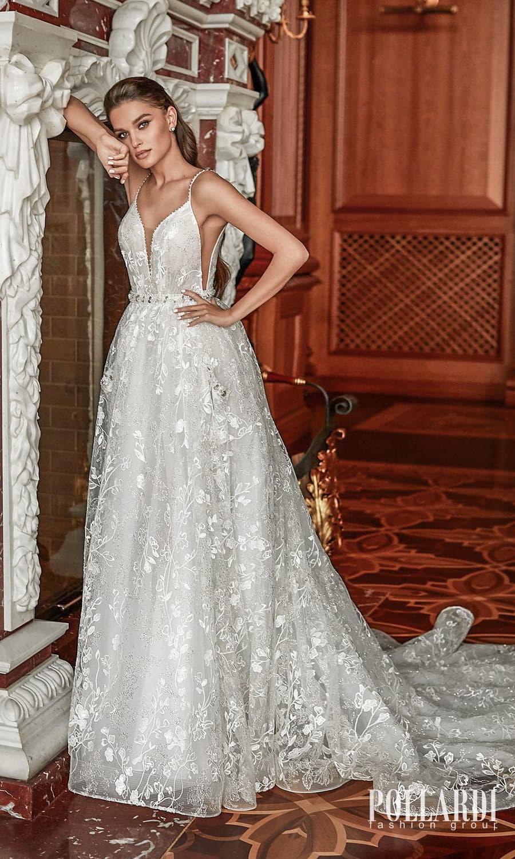 pollardi 2022 your triumph bridal sleeveless straps plunging v neckline embellished a line ball gown wedding dress chapel train (grandeour) mv