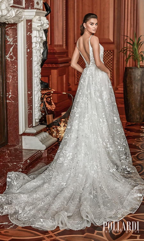 pollardi 2022 your triumph bridal sleeveless straps plunging v neckline embellished a line ball gown wedding dress chapel train v back (grandeour) bv