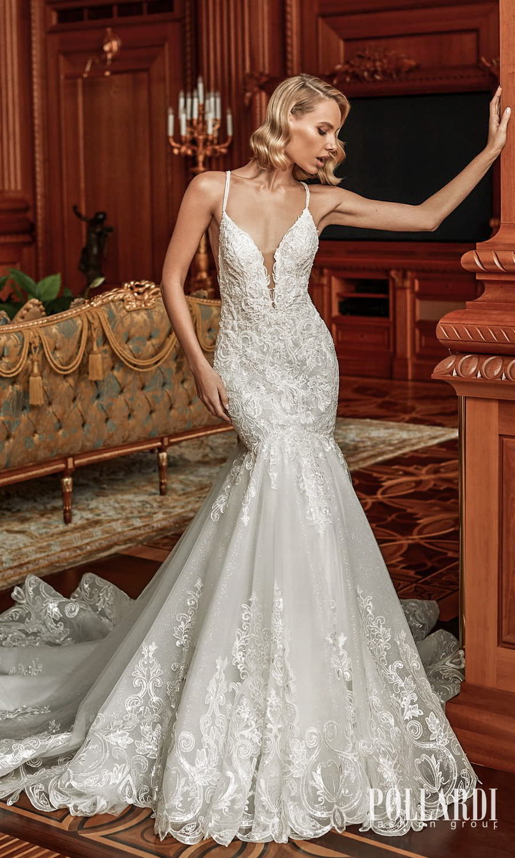 pollardi 2022 your triumph bridal sleeveless straps plunging v neckline fully embellished fit flare mermaid wedding dress chapel train (excitement) mv