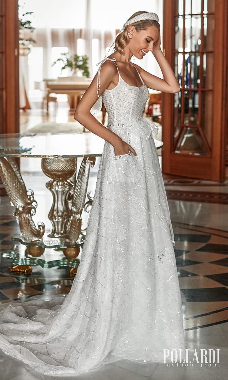 pollardi 2022 your triumph bridal sleeveless straps scoop neckline fully embellished a line ball gown wedding dress chapel train pocket (effect) mv