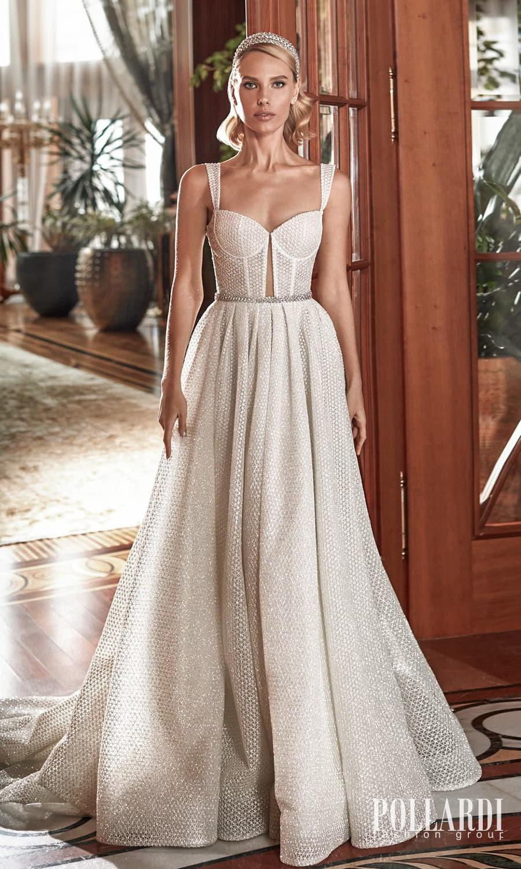 pollardi 2022 your triumph bridal sleeveless straps sweetheart neckline fully embellished a line ball gown wedding dress chapel train (perfection) mv