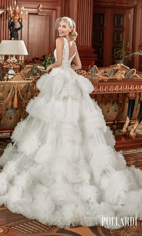 pollardi 2022 your triumph bridal sleeveless straps v neckline embellished a line ball gown wedding dress ruffle skirt chapel train (enchanting) bv