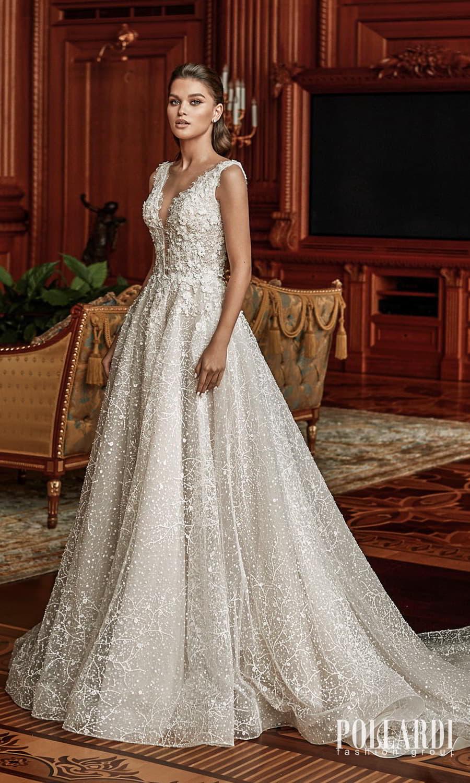 pollardi 2022 your triumph bridal sleeveless straps v neckline fully embellished a line ball gown wedding dress chapel train (charm) mv