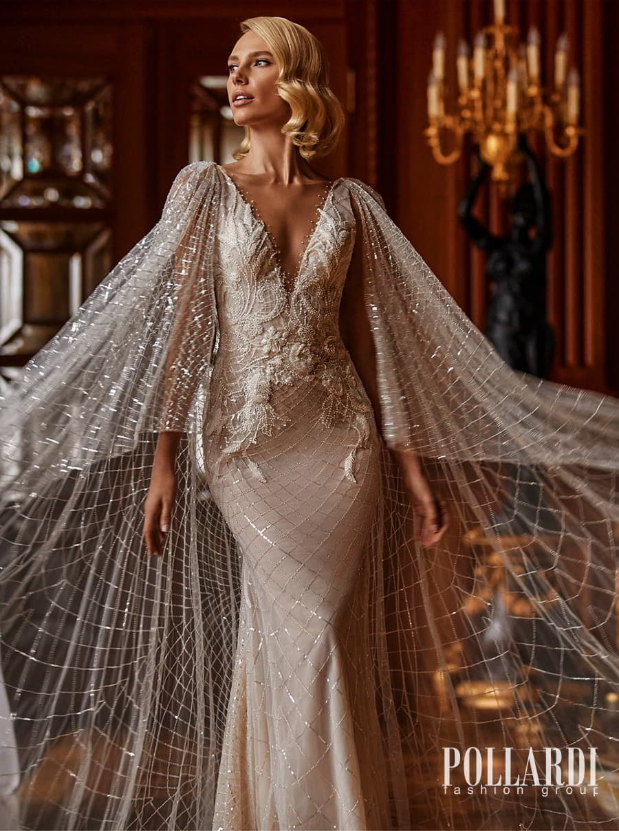 pollardi 2022 your triumph bridal sleeveless straps v neckline heavily embellished sheath wedding dress chapel train detachable cape sleeves (furor) zv