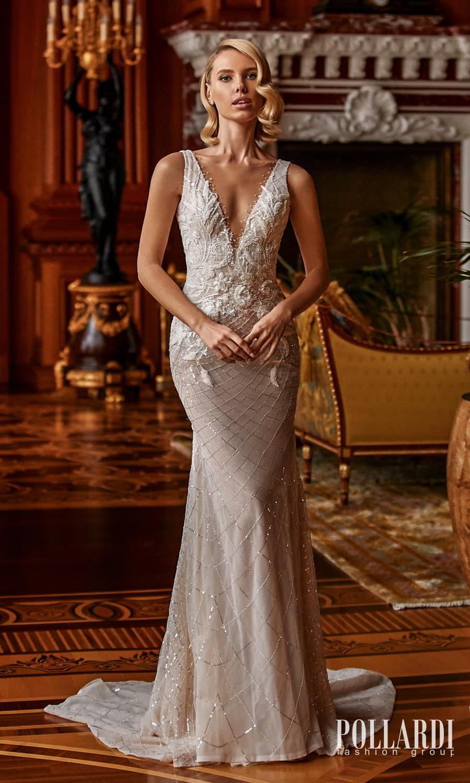 pollardi 2022 your triumph bridal sleeveless straps v neckline heavily embellished sheath wedding dress chapel train (furor) mv