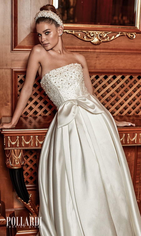 pollardi 2022 your triumph bridal strapless straight across neckline embellished bodice a line ball gown wedding dress chapel train (admiration) zv