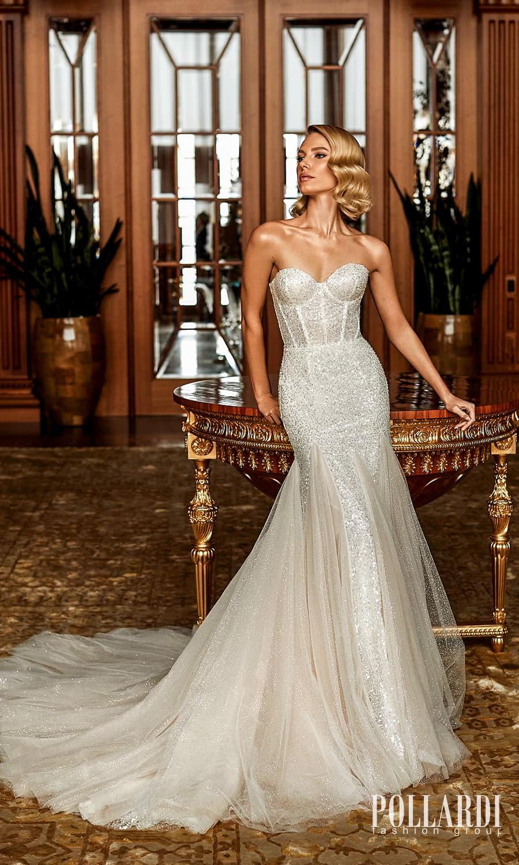 pollardi 2022 your triumph bridal strapless sweetheart neckline fully embellished sheath fit flare wedding dress chapel train (magnificence) mv