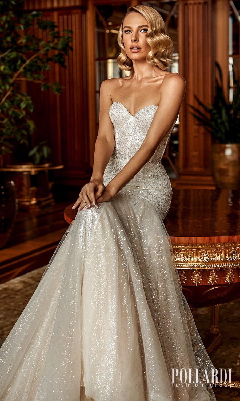 pollardi 2022 your triumph bridal strapless sweetheart neckline fully embellished sheath fit flare wedding dress chapel train (magnificence) zv