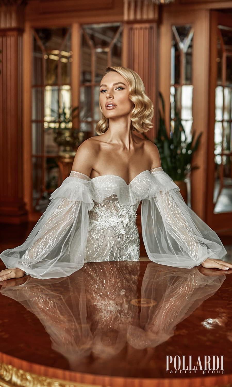 pollardi 2022 your triumph bridal strapless sweetheart neckline fully embellished sheath wedding dress chapel train detached puff bishop sleeves (magnetism) mv