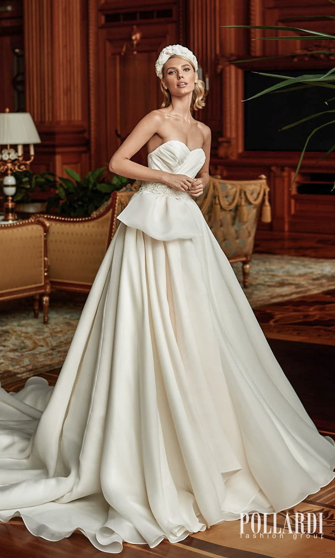 pollardi 2022 your triumph bridal strapless sweetheart neckline pleated bodice clean minimalist a line ball gown wedding dress chapel train (oblivion) mv