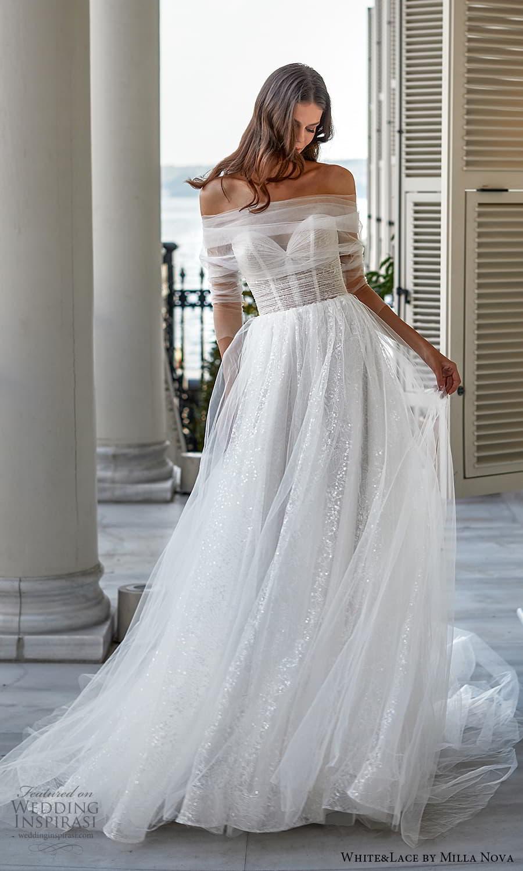 white lace milla nova 2022 bridal 3 quarter off shoulder sleeves sweetheart neckline a line ball gown wedding dress chapel train (31) mv