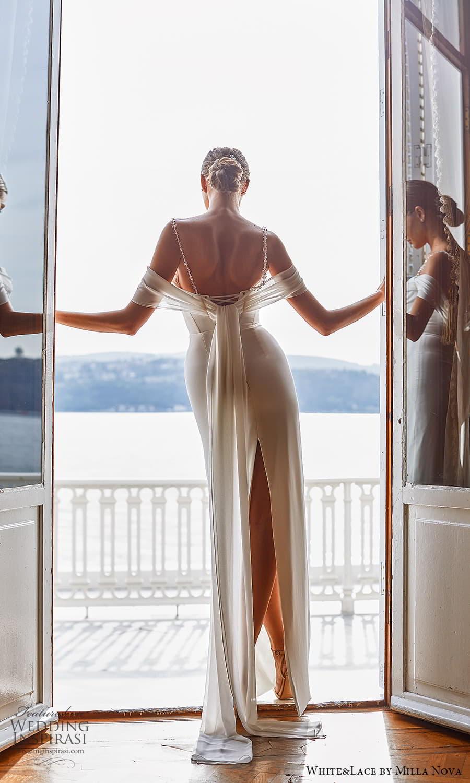 white lace milla nova 2022 bridal cold shoulder straps straight across neckline clean minimalist sheath column wedding dress (23) bv