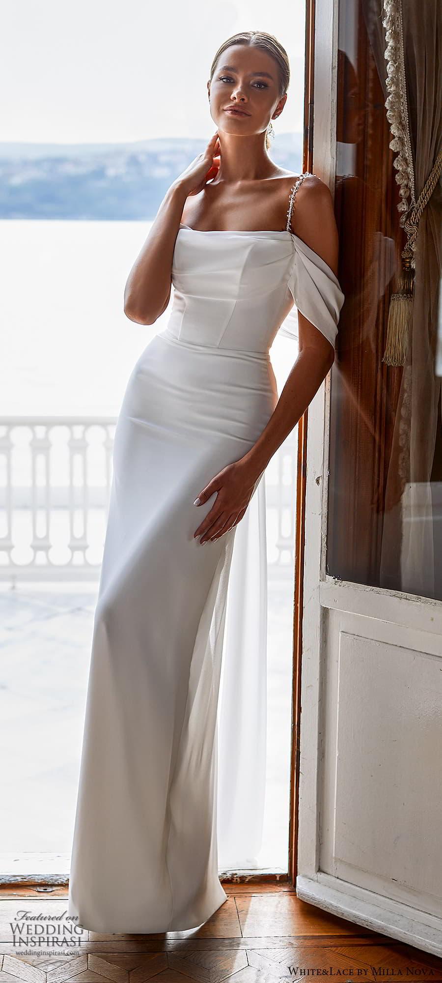 white lace milla nova 2022 bridal cold shoulder straps straight across neckline clean minimalist sheath column wedding dress (23) mv