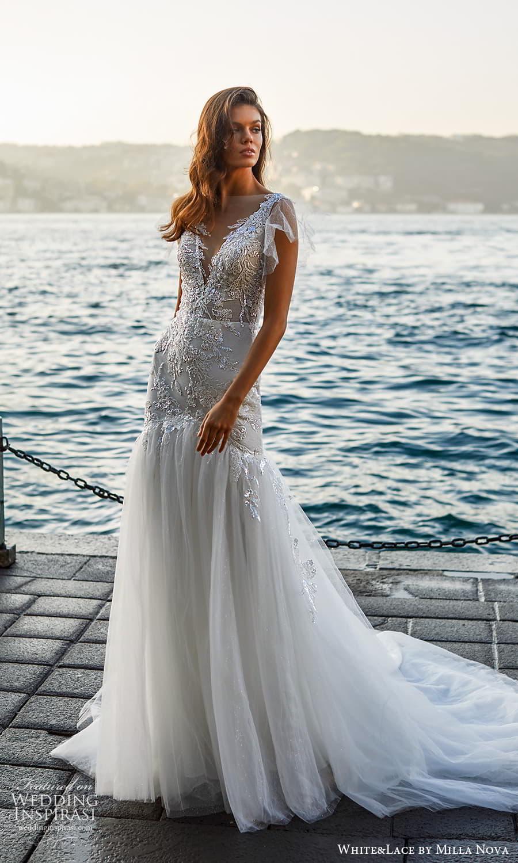 white lace milla nova 2022 bridal flutter sleeve v neckline embellished bodice fit flare a line wedding dress chapel train (24) mv
