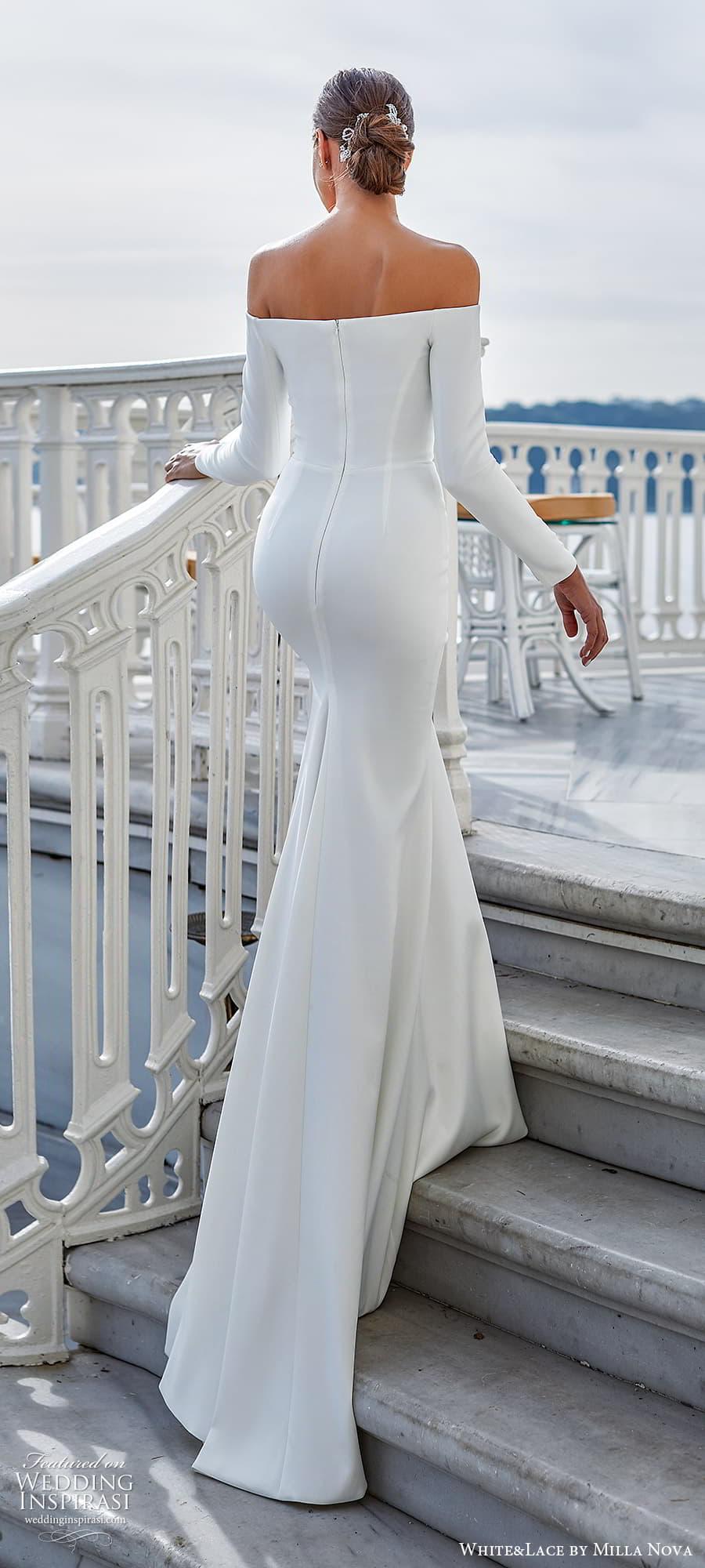white lace milla nova 2022 bridal long sleeve off shoulder straight across neckline clean minimalist sheath wedding dress slit skirt (28) bv
